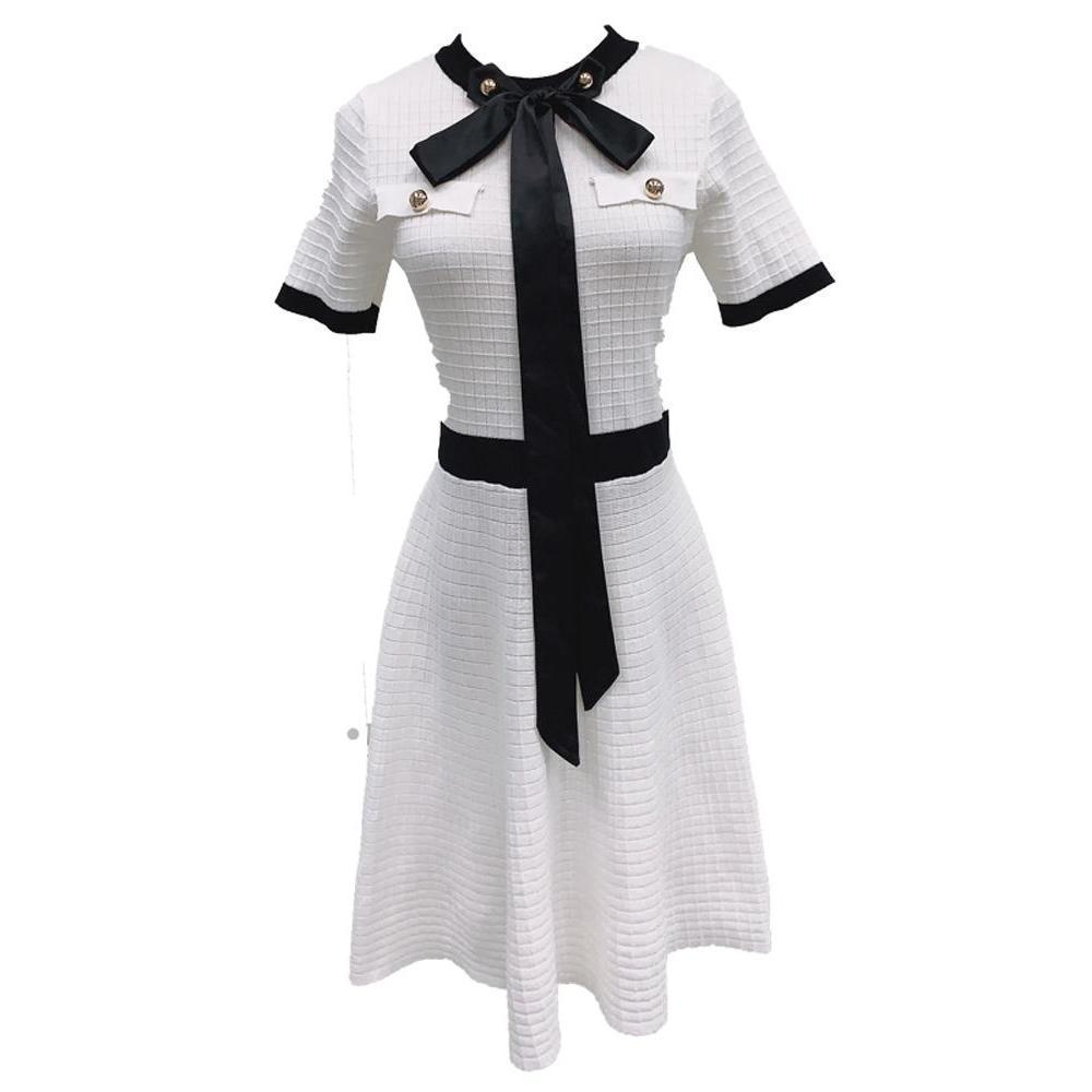 Bow Tie Short Sleeve Knitted Dress Korean Fashion Outfit #JU2808-White-M-Juku Store