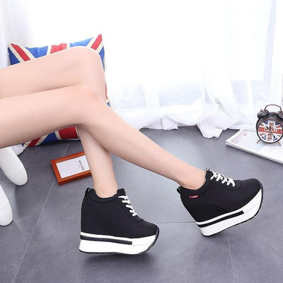 Breathable Lace-Up Wedge Sneakers Platform Canvas Shoes #JU2838-Juku Store