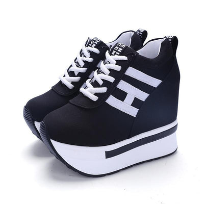 Breathable Lace-Up Wedge Sneakers Platform Canvas Shoes #JU2838-Black 1-37-Juku Store