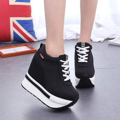 Breathable Lace-Up Wedge Sneakers Platform Canvas Shoes #JU2838-Black 2-39-Juku Store