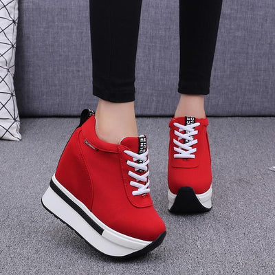 Breathable Lace-Up Wedge Sneakers Platform Canvas Shoes #JU2838-Red 2-38-Juku Store