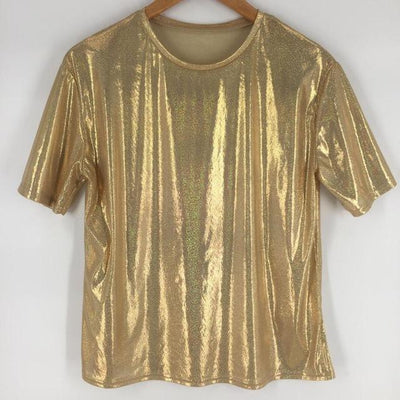 Bright and Shiny Loose T-Shirt Harajuku Top #JU2429-Gold-One Size-Juku Store