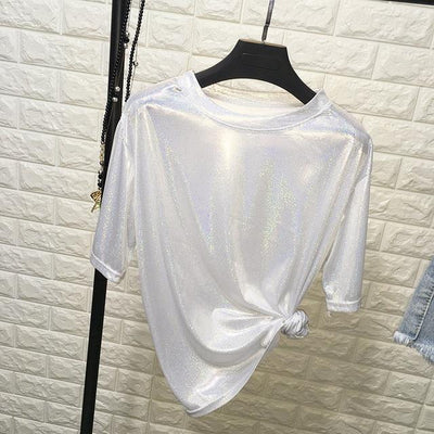Bright and Shiny Loose T-Shirt Harajuku Top #JU2429-White Silver-One Size-Juku Store