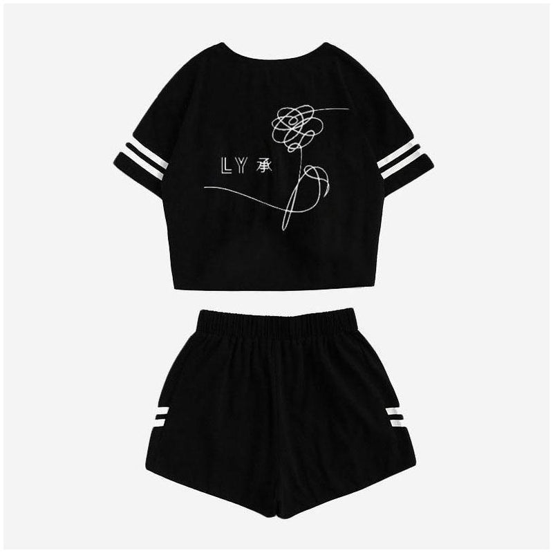 BTS Love Yourself Crop Top and Shorts Set #JU1979-S-Juku Store
