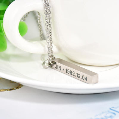 BTS Members Name & Birthday Necklace Titanium Chain Bar Pendant [8 Styles] #JU2030-Juku Store