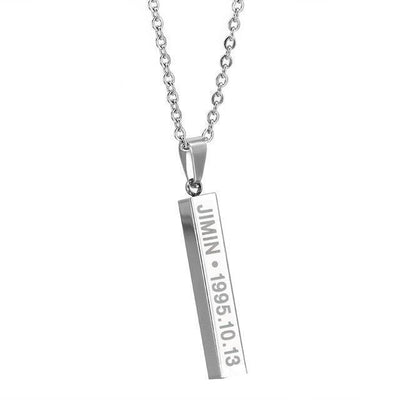 BTS Members Name & Birthday Necklace Titanium Chain Bar Pendant [8 Styles] #JU2030-Jimin-Juku Store