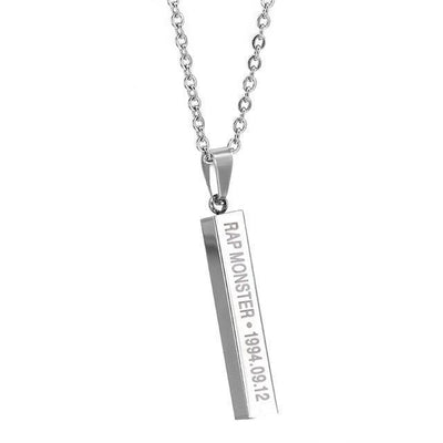 BTS Members Name & Birthday Necklace Titanium Chain Bar Pendant [8 Styles] #JU2030-Rap Monster-Juku Store
