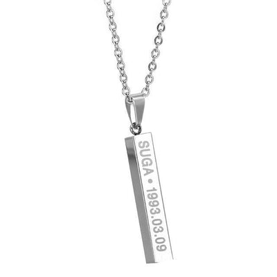BTS Members Name & Birthday Necklace Titanium Chain Bar Pendant [8 Styles] #JU2030-Suga-Juku Store