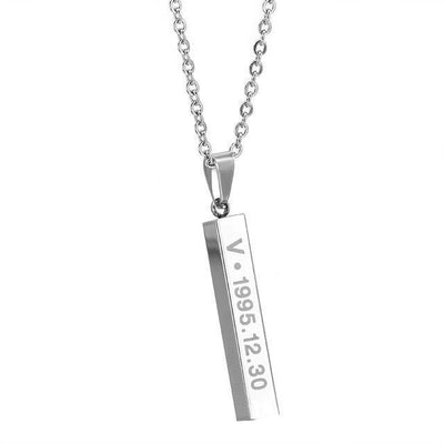 BTS Members Name & Birthday Necklace Titanium Chain Bar Pendant [8 Styles] #JU2030-V-Juku Store