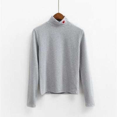 Candy Heart Turtleneck Harajuku Long Sleeve Sweater #JU2472-Grey-One Size-Juku Store