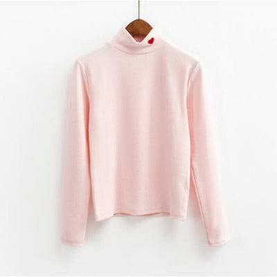 Candy Heart Turtleneck Harajuku Long Sleeve Sweater #JU2472-Pink-One Size-Juku Store