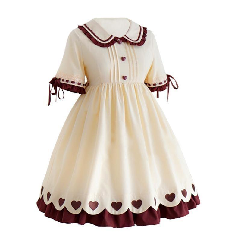 Caramel Pudding Short Bow Sleeve Lolita Dress Kawaii Princess #JU2698-Juku Store