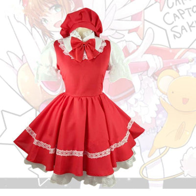 Card Captor Sakura Kinomoto Red Battle Dress Cosplay Costume #JU2256-S-Juku Store