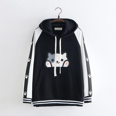 Cartoon Cat Print Harajuku Hooded Sweatshirt Kawaii Hoodie #JU2590-Black-One Size-Juku Store