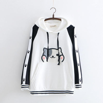 Cartoon Cat Print Harajuku Hooded Sweatshirt Kawaii Hoodie #JU2590-White-One Size-Juku Store