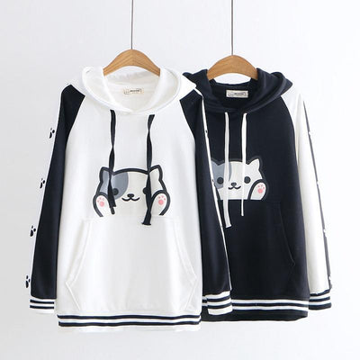Cartoon Cat Print Harajuku Hooded Sweatshirt Kawaii Hoodie #JU2590-Juku Store