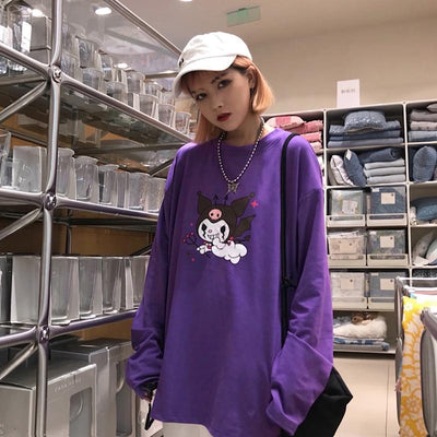 Cartoon Demon Print Purple Long Sleeve T-Shirt Pastel Top #JU2604-Juku Store
