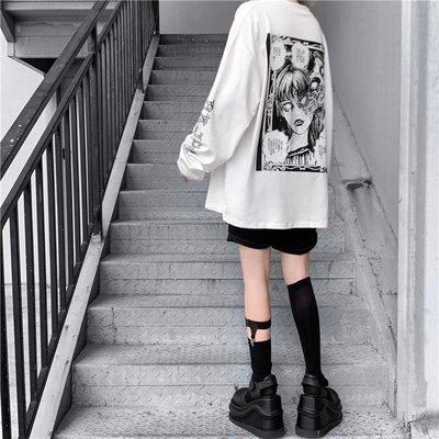 Cartoon Horror Graphic T-Shirt Harajuku Street Style Tee #JU2702-Juku Store