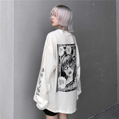 Cartoon Horror Graphic T-Shirt Harajuku Street Style Tee #JU2702-XXL-Juku Store