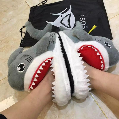 Cartoon Shark Indoor Slippers Kawaii Plush Shoes #JU2950-7-Juku Store