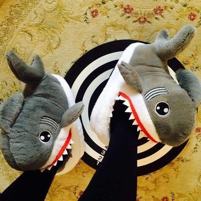 Cartoon Shark Indoor Slippers Kawaii Plush Shoes #JU2950-Juku Store