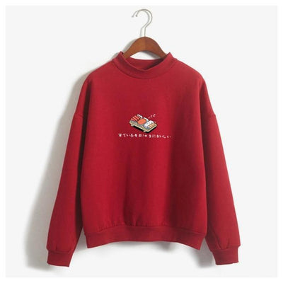 Cartoon Sushi Print Sweatshirts Harajuku Pullover #JU2426-Wine Red-M-Juku Store