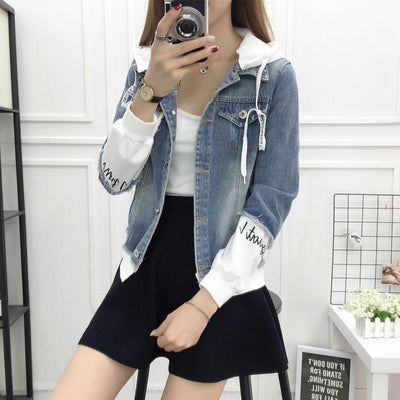 Casual Hooded Short Denim Patch Jacket Korean Jean Coat #JU2964-Juku Store