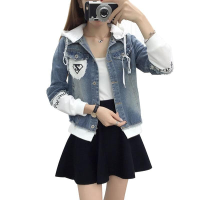 Casual Hooded Short Denim Patch Jacket Korean Jean Coat #JU2964-XXXL-Juku Store
