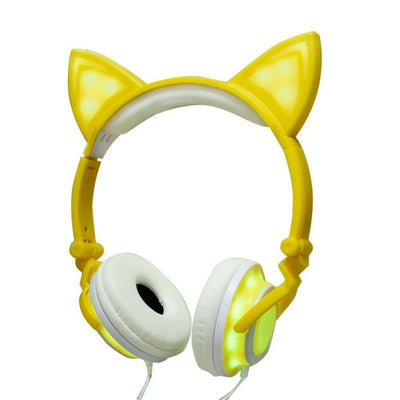 (NEW 2018!) Cat Ear Headphones LED Rechargeable [5 Colors] #JU1792-Pika Yellow-Juku Store