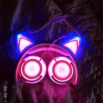 (NEW 2018!) Cat Ear Headphones LED Rechargeable [5 Colors] #JU1792-Shocking Pink-Juku Store