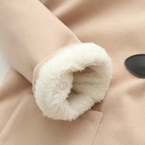 Cat Ear Horn Button Jacket Hooded Fleece Pea Coat [3 Colors] #JU2213-Juku Store