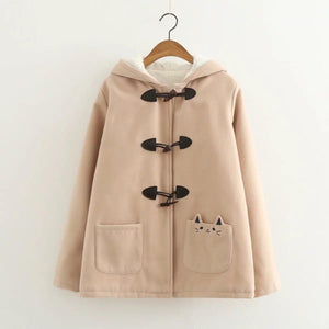 Cat Ear Horn Button Jacket Hooded Fleece Pea Coat [3 Colors] #JU2213-Khaki-M-Juku Store