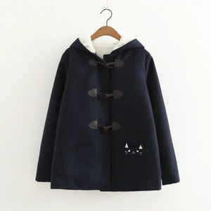 Cat Ear Horn Button Jacket Hooded Fleece Pea Coat [3 Colors] #JU2213-Navy Blue-M-Juku Store