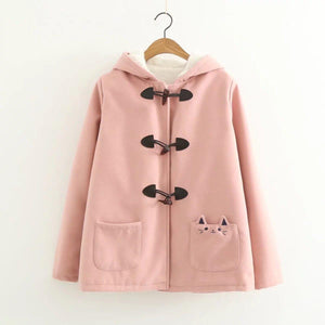 Cat Ear Horn Button Jacket Hooded Fleece Pea Coat [3 Colors] #JU2213-Pink-M-Juku Store