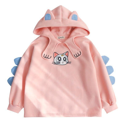 Cat Eared and Paw Collar Hoodie Kawaii Sweatshirt #JU2685-Juku Store