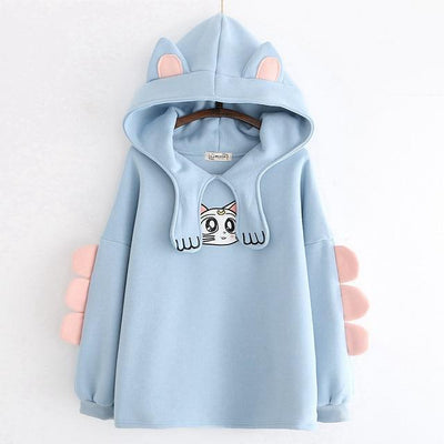 Cat Eared and Paw Collar Hoodie Kawaii Sweatshirt #JU2685-Blue-One Size-Juku Store