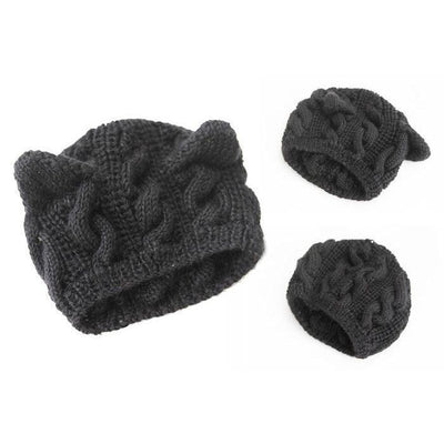 Cat Ears Beanie Hat Kawaii Knitted Winter Skullies #JU2431-Juku Store