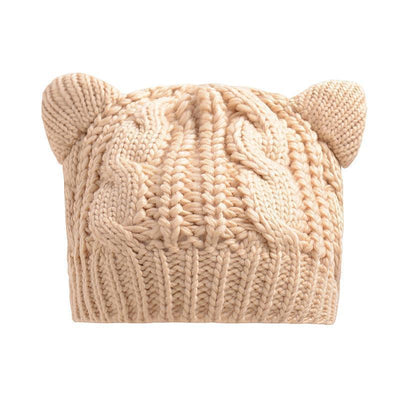 Cat Ears Beanie Hat Kawaii Knitted Winter Skullies #JU2431-Beige-One Size-Juku Store