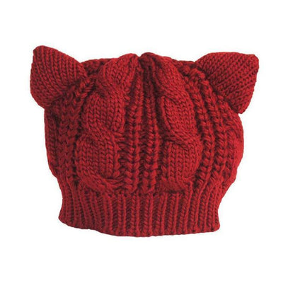 Cat Ears Beanie Hat Kawaii Knitted Winter Skullies #JU2431-Burgundy-One Size-Juku Store