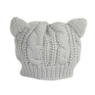 Cat Ears Beanie Hat Kawaii Knitted Winter Skullies #JU2431-Grey-One Size-Juku Store
