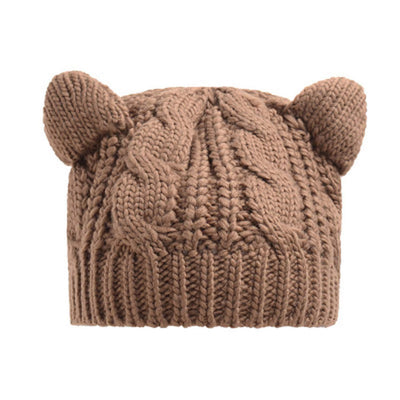 Cat Ears Beanie Hat Kawaii Knitted Winter Skullies #JU2431-Khaki-One Size-Juku Store