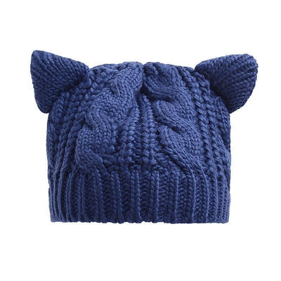 Cat Ears Beanie Hat Kawaii Knitted Winter Skullies #JU2431-Navy Blue-One Size-Juku Store