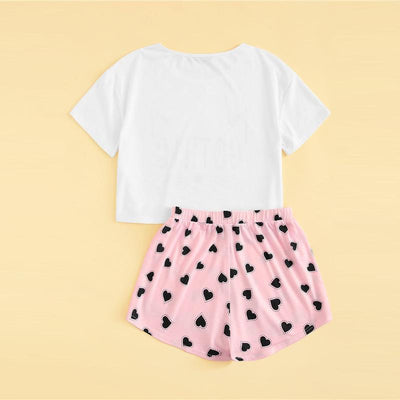 Cat Print T-Shirt and Heart Shorts Pajama Set Kawaii Sleepwear #JU2793-Juku Store