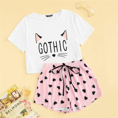 Cat Print T-Shirt and Heart Shorts Pajama Set Kawaii Sleepwear #JU2793-XS-Juku Store