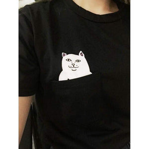 Cat Subtly Flipping You Off T-Shirt [3 Colors] #JU1830-Juku Store