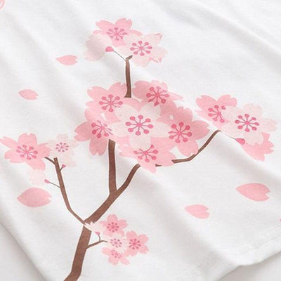 Cherry Blossoms Tassel Sleeve T-Shirt Kawaii Top #JU2503-Juku Store