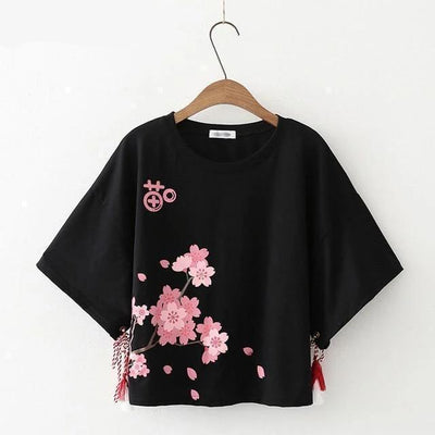 Cherry Blossoms Tassel Sleeve T-Shirt Kawaii Top #JU2503-Black-S-Juku Store