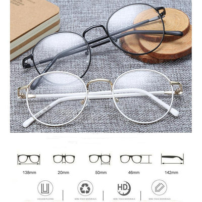 Colorful Kawaii Metal Round Frame Fashion Glasses #JU2202-Juku Store