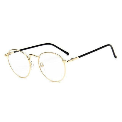 Colorful Kawaii Metal Round Frame Fashion Glasses #JU2202-Gold-Juku Store