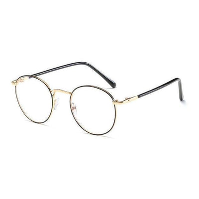 Colorful Kawaii Metal Round Frame Fashion Glasses #JU2202-Golden Black Rim-Juku Store